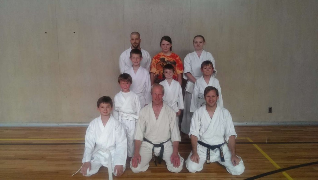 Birch Bay Shotokan Karate members pose for a quick shot before practice.